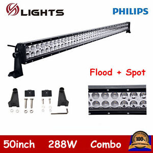 50inch 288W LED Light Bar Combo Driving ATV Offroad 4WD SUV UTE Boat Slim 49/51