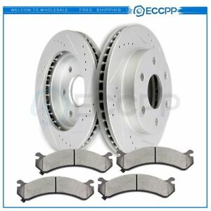 Front Brake Disc Rotors And Ceramic Pads For Ford F250 2005 2006 Drilled Slotted