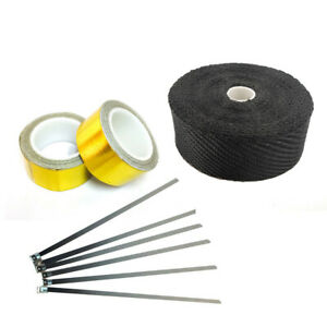 Titanium Exhaust Turbo Heat Manifold Wrap Black 2in 50ft Ties Kit Gold Tape