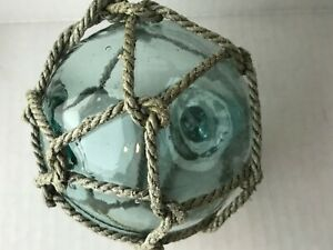 Vintage Blown Glass Fishing Float Buoy Ball Green