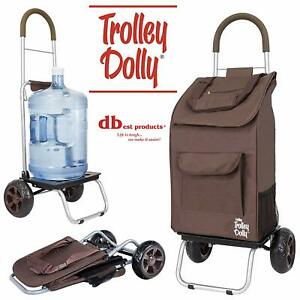 Dbest Products Trolley Dolly Brown Shopping Grocery Foldable Cart New Hot