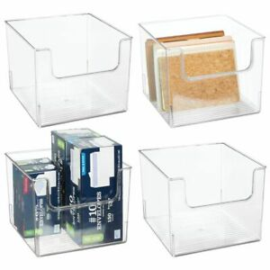 Mdesign Open Front Plastic Storage Bin For Cube Furniture 4 Pack Clear