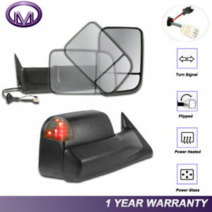 2x Lh Rh Pair Power Heated Led Signal Lights Towing Mirrors For 98 02 Dodge Ram