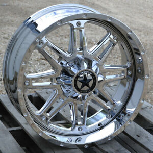 20 Chrome Lonestar Offroad Outlaw Wheels 20x9 6x135 0mm Ford F150 Expedition