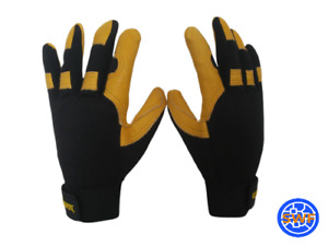 5 Pair Water Resistant Leather Mechanic Work Gloves Bulk Lot Size Large