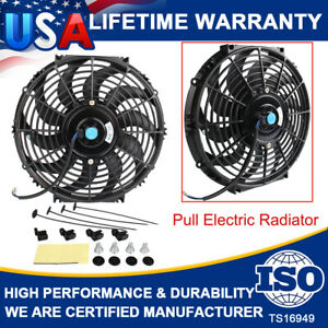 12inch Universal Slim Fan Push Pull Electric Radiator Cooling Fans 12v Mount Kit