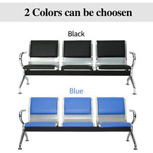 3 Seat Waiting Chair Reception Room Guest Chair Airport Bench Office Bank