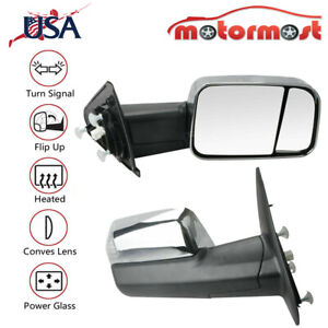 Towing Mirror Power Heated Turn Signal For 09 12 Dodge Ram 1500 10 12 2500 3500