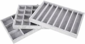 Autoark Ice Velvet Stackable Jewelry Tray Showcase Display Organizer set Of 3 aj