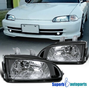 For 1992 1995 Honda Civic Eg Ej Headlights Head Lamps Black
