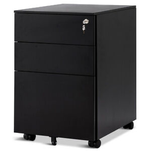 3 Drawer Filing Cabinet Locking Pedestal Under Desk Home Office On Wheels Black