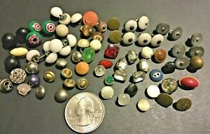 Antique Vintage Small Diminutive Buttons Glass China Metal Gem 74 Pc