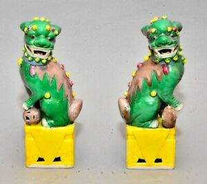 Pair Of Old Chinese Ceramic Green Yellow Foo Dogs Or Fu Lions 7 High