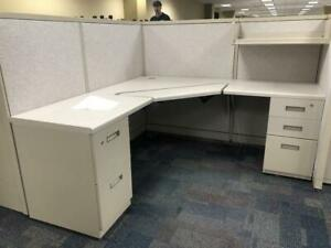 Steelcase Cubicles 5x5 X 53 Inch Tall Gray Fabric