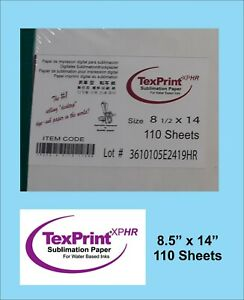 Texprint Xp Sublimation Transfer Paper Box Of 110 Sheets 8 5x14 For Epson
