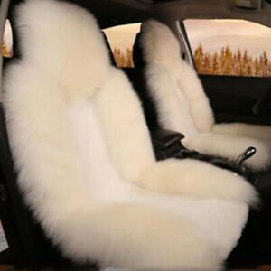 Wool Car Front Seat Cover Cushion Long Fur Mat Genuine Australian Sheepskin 100