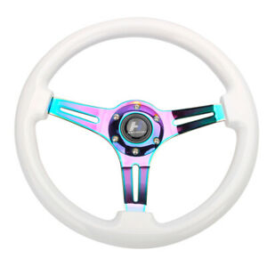 14 Wood White Grain Steering Wheel 6 Bolts 1 75 Depth Neo Chrome Spoke Horn