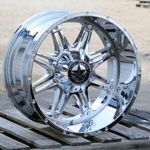 22 Chrome Lonestar Offroad Outlaw Wheels 22x12 6x135 44mm Ford F150 Expedition