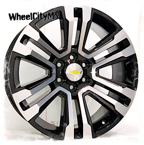 22 Inch Gloss Black Machined 2018 Chevy Tahoe Ltz Oe 5822 Replica Rims 6x5 5 24