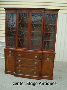 59965 Large Mount Airey Inlaid Mahogany 2 Piece Breakfront China Cabinet Curio