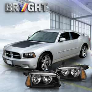 For 2006 2010 Dodge Charger Black Headlight Amber Signal Lamps Pair Left Right