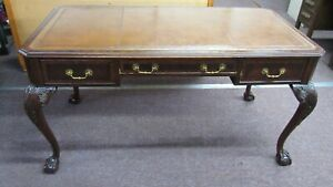 Mahogany Claw Foot Partners Desk Chippendale Maitland Smith
