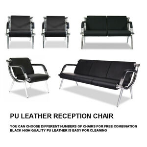 Waiting Room Chair Reception Pu Leather Office Airport Bank Bench Guest Sofa