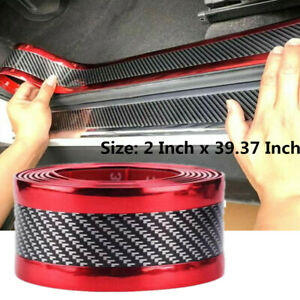 Car Parts Accessories Carbon Fiber Warp Door Plate Cover Anti Scratch Sticker Us