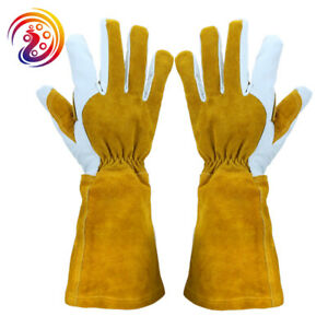 5 Pair Genuine Leather Welding Gloves Mig Tig Bbq Grill Bulk Lot One Size