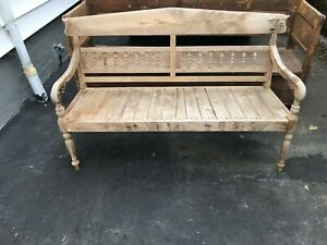 Vintage Bench American Natural Finish Carved Wood 60 Long