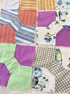 Lot Of 13 Circa 1950s Vintage Handmade Bow Tie Quilt Blocks 8 5 X 8 5