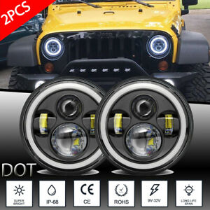 Pair 7 Inch 600w Led Headlights Halo Angle Eye For Jeep Wrangler Cj Jk Lj 97 18