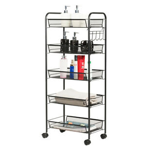 5 Tier Mesh Rolling File Utility Cart Storage Basket W wheels Home Kitchen Black