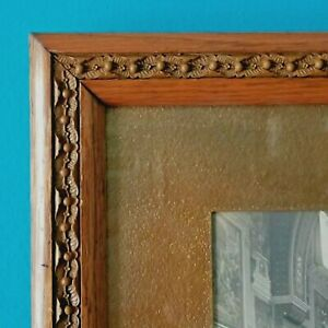 Vtg Carved Curved Leaf Berry Wood Picture Frame Cathedral Interior Photo 16x14