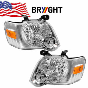 For 2006 2010 Ford Explorer Chrome clear Amber Corner Headlights Lamp Left right
