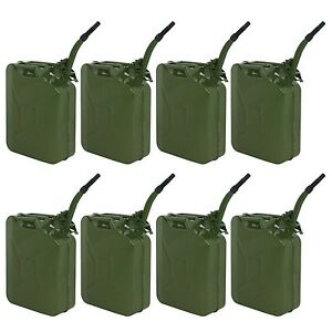 8x Jerry Can 5 Gallon 20l Gas Gasoline Fuel Army Army Backup Metal Steel Tank