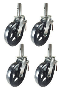 4 Pcs Scaffold Caster 8 X 2 Black Wheels W Locking Brakes 1 1 4 2000 Lbs