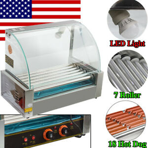 18 Hot Dog 7 Roller Grill Commercial Stainless Steel Cooker Machine 1200w W cove