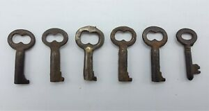 Antique Lot Of 6 1 Small Tiny Hollow Barrel Skeleton Steamer Trunk Key