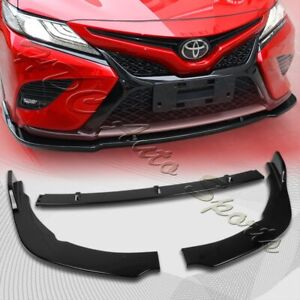 For 2018 2020 Toyota Camry Painted Black Front Bumper Body Kit Spoiler Lip 3pcs