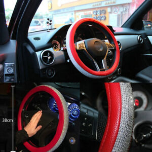 Bling Rhinestone Car Steering Wheel Cover 38cm Red Deluxe Leather For Girl Lady