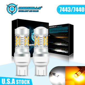 7443 T20 Led Drl White yellow Signal Turn Parking Reverse Car Lamp Lights Bulbs