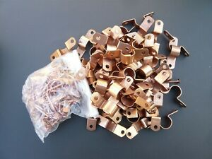 Lot 170 1 2 Two Hole Copper Plated Fitting Pipe Tube Strap W Nail Plumbing