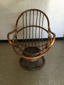 Vintage Mid Century Bamboo Rattan Java Chair Swivel 2 Available
