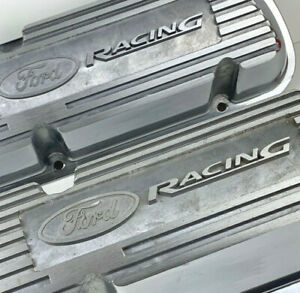 New Ford Racing Clear Finish Cast Aluminum Finned Valve Covers Sbf 289 302 351