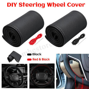 Diy Car Truck Pu Leather Steering Wheel Cover Needles Thread Universal