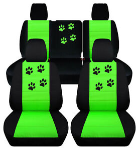 Front Rear Car Seat Covers Blk Lime Green W Paws Fits Jk Wrangler 4dr 2007 2018