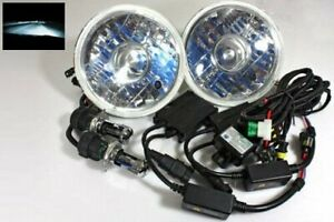 7 Round H6024 Projector Jdm Headlights 8000k Crystal Blue Hi Low Hid Conversion