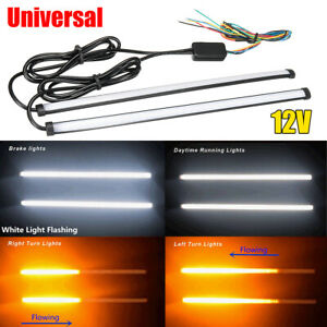 2pcs Universal 30cm Switchback Drl Led Turn Signal Brake Driving Strip Light