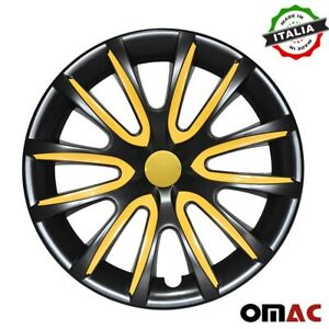 16 Inch Hub Cap Wheel Rim Cover Black With Yellow For Honda Odyssey 4pcs Set
